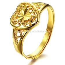 golden heart rings images Copper 18k gold classic wealth finger male wedding ring adjustable jpg