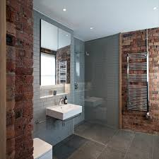 exposed shower plumbing bathroom industrial with large tiles