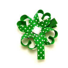shamrock ribbon lucky clover hair clip lucky shamrock ribbon sculpture four