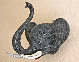 White Elephant Head Wall Mount African Beaded Wire Animal Sculpture Elephant Trophy Head By