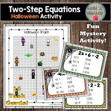two step equations halloween task cards mystery activity and one