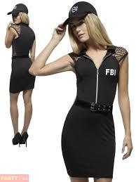 ladies fever swat costume fbi police fancy dress womens cop