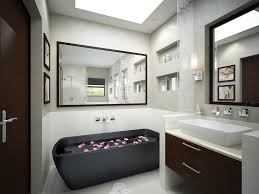 interior bathroom black acrylic freestanding tub on white ceramic