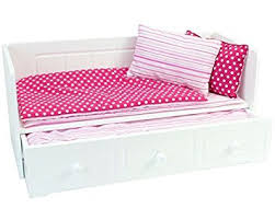 amazon com 18 inch doll furniture white day bed with trundle and