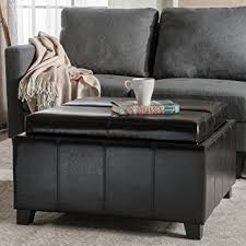 leather tray for coffee table amazon com plymouth espresso leather tray top storage ottoman