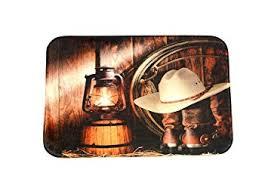 Microfiber Runner Rug American West Style 3d Print Bath Rug Cowboy Hat