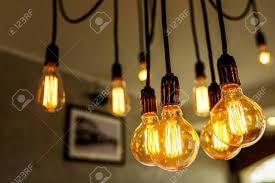 antique light bulb fixtures decorative antique light bulbs in coffee shop stock photo picture