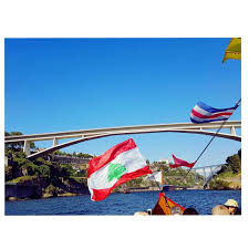 Libanese Flag Flying Lebanese Flag Over Douro River The River Is Called Douro