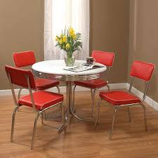 shop tms furniture retro red dining set with round dining table at
