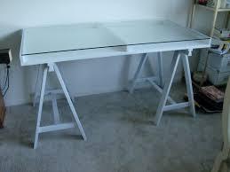 Diy Glass Desk Glass Sawhorse Desk Jpg 1600 1200 Office Makeover Pinterest