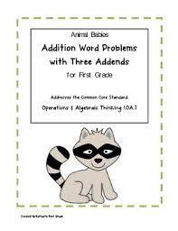 addition word problems grade animal babies addition word problems with three addends for