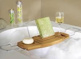 umbra aquala bathtub caddy bag relax pretty beautiful drink food table bathroom home