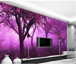 Home Wallpaper Decor by Classic Home Decor Purple Dream Forest Large Simple Mural 3d