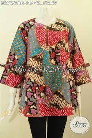 desain baju batik halus desain baju batik kerja wanita modern blus febi lengan berpita