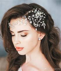 hair accessories for prom pearl headband forehead hair chain jewelry wedding bridal flower