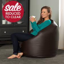 Brown Leather Bean Bag Chair Large Brown Bean Bag In Faux Leather Brown Bean Bag Chairs