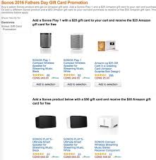 amazon black friday sonos sonos father u0027s day promo free 25 or 50 amazon gift card with