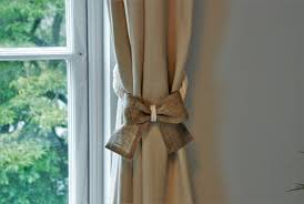 white cotton and burlap bow curtain tie backs shabby chic
