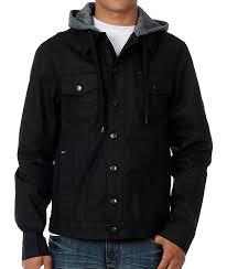 jean sweater jacket dravus evolution black waxed mens hooded jean jacket zumiez