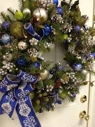 wreath blue and silver wreath 30inch artificial