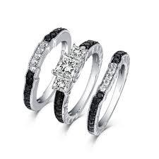 stone wedding rings images Tinnivi sterling silver black diamond channel 3pc 3 stone wedding jpg