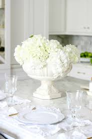 transitional home decor white hydrangeas and white place settings soothing summer home