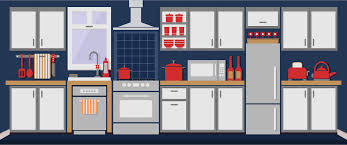 clipart simple kitchen remixed with flat colors and shadows