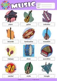 musical instruments esl printable worksheets for kids 1