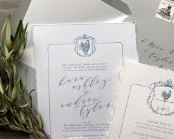 classic gray and french blue letterpress wedding invitations