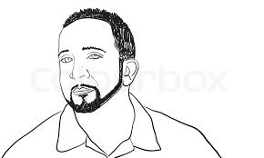 a sketch of a man with a goatee and thin beardthis vector image is