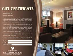 hotel gift certificates san francisco gift certificate friends of executive
