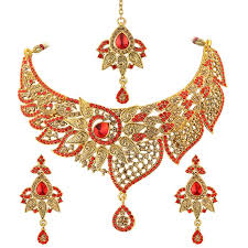 bridal necklace set gold images Buy spargz bollywood gold plated blue ad stone fashion bridal jpg