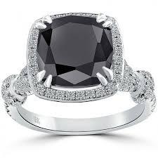 Vintage Style Cushion Cut Engagement Rings Cushion Cut Black Diamond Ring Pave Halo Vintage Style