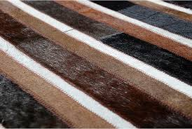 Black And White Stripped Rug Black Brown And White Patchwork Cowhide Rug Stripes Design