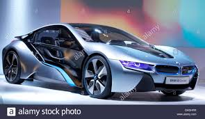 concept bmw i8 the bmw i8 a plug in hybrid sports car sits on the stage in the