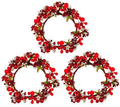 flower candle rings set of 3 berry candle rings by valerie page 1 qvc