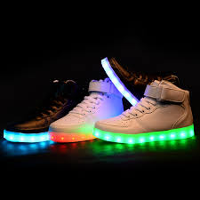 rainbow light up shoes men women high top led shoes for adults white black glowing light up