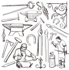 hand drawn sketch blacksmith set such as horseshoe sledgehammer
