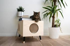comfortable wooden cat home doubles as your side table