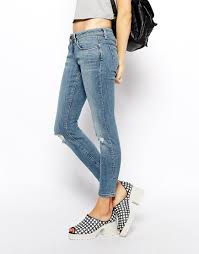 Light Wash Ripped Skinny Jeans Asos Whitby Low Rise Skinny Ankle Grazer Jeans In Columbia Light