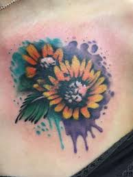 watercolor sunflower tattoo design idea