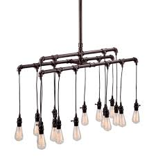 Hanging Bulb Chandelier Large Hanging Bulb Steel Pipe Chandelier Shades Of Light