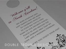 Wedding Itinerary For Guests Double Trouble Designs Custom Door Hangers For Sarah
