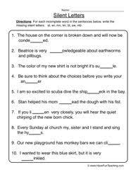 quiet letters working silent letters worksheet 1