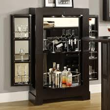 Black Bar Cabinet Modern Black Mirrored Home Bar Cabinet With Wine Glass Racks And