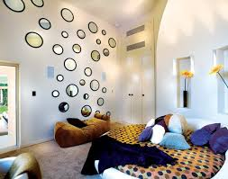 funky bedroom design with round bed decoration and round mirros as