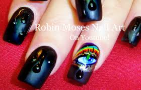 water drop nail art design rainbow nails with eyes crying