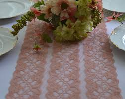 dusty rose table runner peach lace 8 wide choose 3 ft 16ft sizes cut lace not