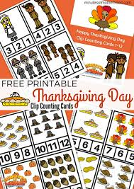 free printable thanksgiving day clip counting cards 1 12