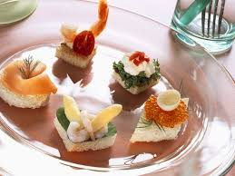 canapé cottage canapes five ways smoked salmon shrimp and white asparagus and
